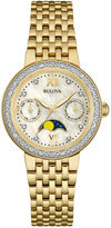 Bulova Diamonds Womens Diamond-Accent Moon Phase Gold-Tone Stainless Steel Bracelet Watch 98R224