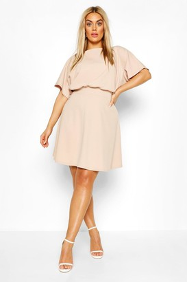 boohoo Plus Blouson Skater Dress