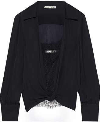 Alice + Olivia Jannie Twist-front Silk-chiffon And Chantilly Lace Shirt