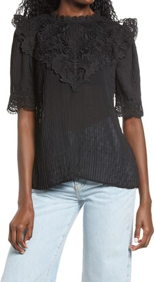 Endless Rose Lace Detail Dotted Top