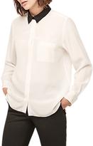 Gerard Darel Contrast Collar Blouse, Ecru