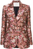 ADAM by Adam Lippes Floral brocade belted tuxedo blazer