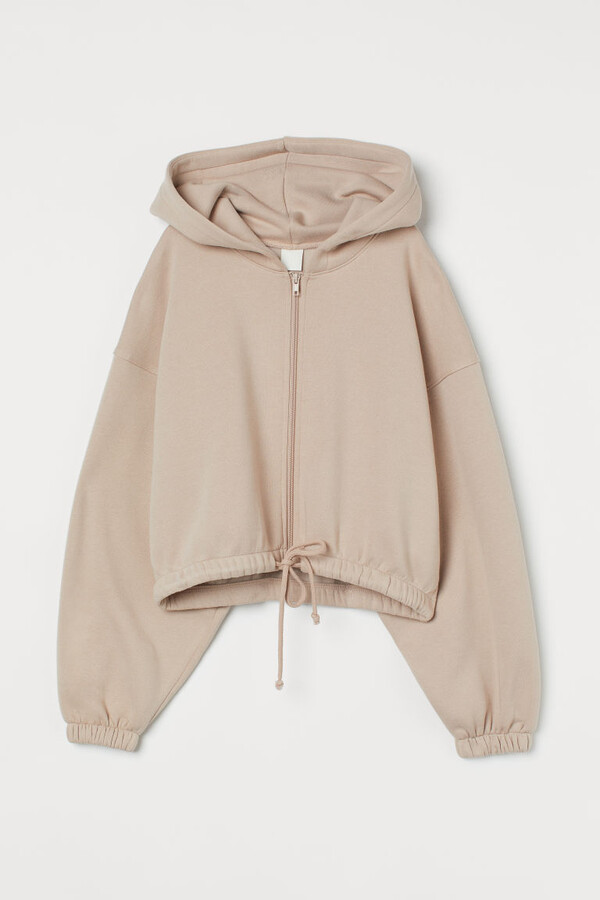 H&M Hooded Jacket with Drawstring - Beige