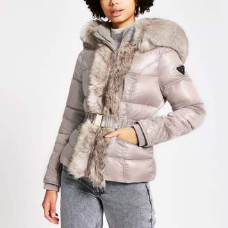 River Island Womens Pink padded faux fur hood belted short jacket