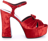 Saint Laurent Candy bow-detail velvet platform sandals