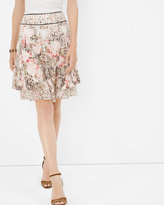 White House Black Market Floral Print Tiered Skirt