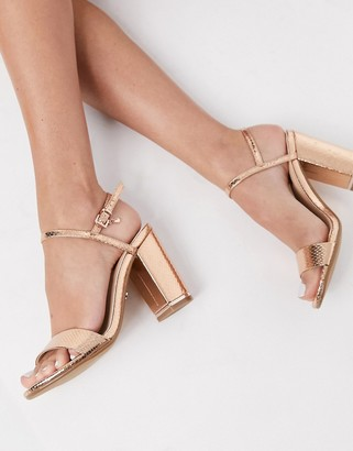 Office hollie block heeled sandals in rose gold
