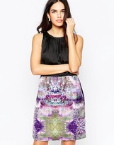 Lavand High Neck Dress With Contrast Abstract Print Skirt