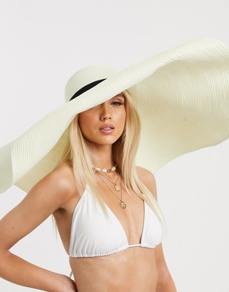 Asos DESIGN oversized straw hat with size adjuster in white