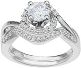 14k White Gold 1 Carat T.W. IGL Certified Diamond Tiered Halo Engagement Ring Set