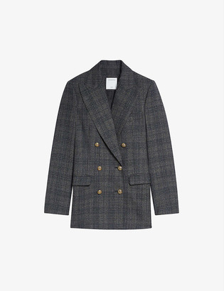 Sandro Anthea double-breasted woven blazer