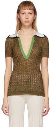 Missoni Green Knit V-Neck Polo