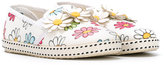 MonnaLisa floral print slippers - kids - Leather/Canvas/rubber - 35