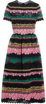 Valentino Paneled Appliquéd Cotton-Blend Lace Midi Dress