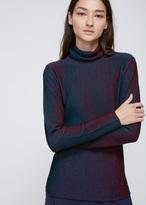 Issey Miyake Blue / Pink Striped Knit Turtleneck