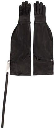 Rick Owens Black Leather Gloves