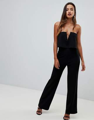 Girl In Mind bandeau double layer jumpsuit-Black