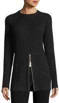 Michael Kors Ribbed Crewneck Zip-Trim Sweater