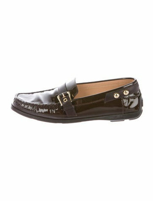 Louis Vuitton Patent Leather Whipstitch Trim Loafers Brown