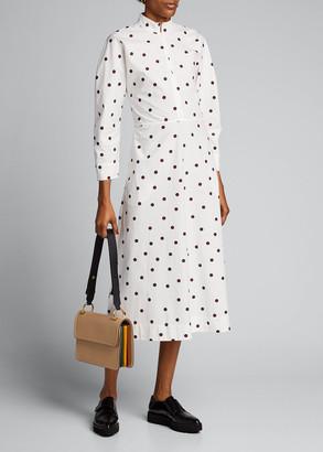 Ganni Polka Dot Poplin Long-Sleeve Midi Dress