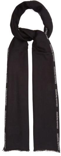 Alexander McQueen Logo-selvedge Cashmere-blend Gauze Scarf - Mens - Black White
