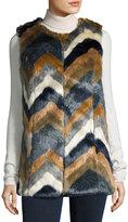 Romeo & Juliet Couture Colorblock Faux-Fur Vest, Multi