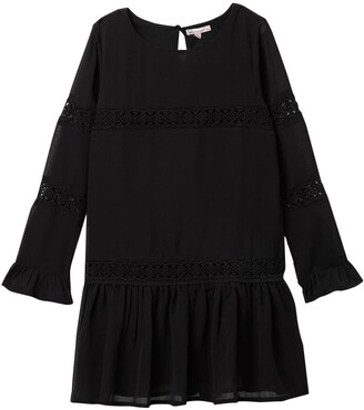 Ella Moss Crinkle Chiffon Lace Dress