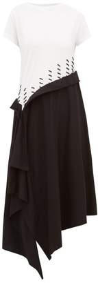Loewe Whipstitched Two-tone Cotton Dress - Womens - Black/white