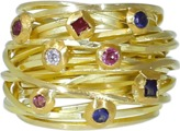 BOAZ KASHI Sapphire And Tourmaline Wire Wrap Ring