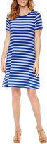 ST. JOHN'S BAY St. John's Bay Short Sleeve Stripe Shift Dress