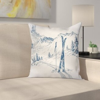 """Mountain View East Urban Home Winter Ski Sport Square Pillow Cover East Urban Home Size: 16"""" x 16"""""""