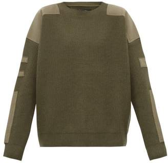 Amiri Patch Ribbed Knit Wool Blend Sweater - Mens - Green