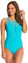 Bleu Rod Beattie Net Worth High Neck Mesh Plunge One Piece Swimsuit 8140016