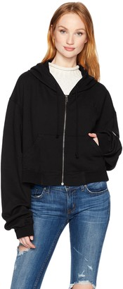 Hudson Jeans Women's Oversized Zip Crop Hoodie