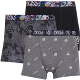 Crosshatch Mens Zurcher Three Pack Boxers Black/Print/Print