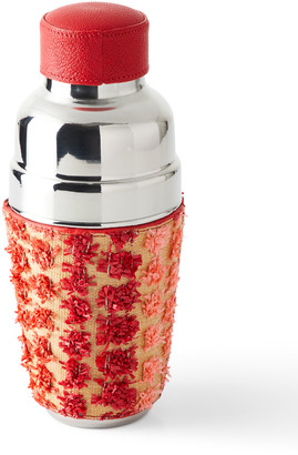 Graphic Image Raffia Wrapped Cocktail Shaker