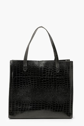 boohoo Croc PU Tote Shopper Bag