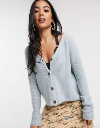 NA-KD Na Kd ribbed knit V-neck cardigan in light blue