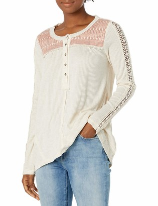 Jolt Women's Long Knit Henley with Crochet at Sleeves and Contrast Yoke