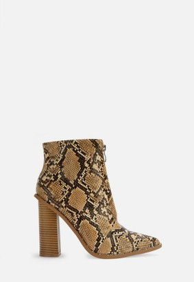 Missguided Beige Zip Front Snake Boots