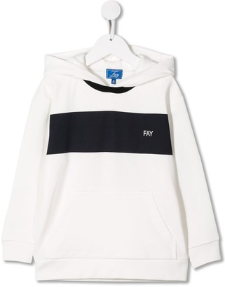 Fay Kids contrasting stripe relaxed-fit hoodie