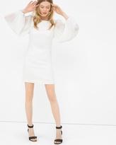 White House Black Market Chiffon Sleeve White Shift Dress