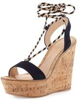Gianvito Rossi Hyeres Nautical Striped Lace-Up Sandal