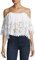 Tularosa Amelia Off-The-Shoulder Lace Crop Top, White