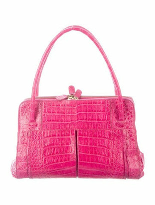 Nancy Gonzalez Crocodile Handle Bag Fuchsia