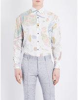 Salvatore Ferragamo Botanical Watercolour-print Silk And Cotton-blend Shirt