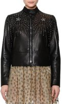 Valentino Star-Studded Leather Jacket, Black