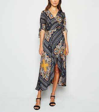 New Look AX Paris Paisley Wrap Midi Dress