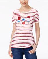Karen Scott Petite Cotton Striped Popsicle Graphic T-Shirt, Only at Macy's