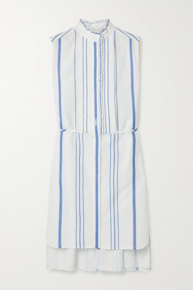 Chloé Ruffled Striped Cotton And Crepe De Chine Shirt Dress - White